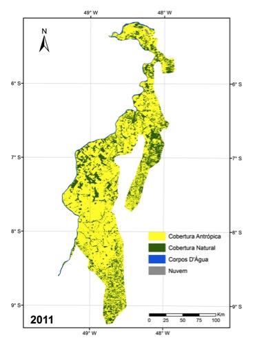 Mapa remanescentes florestais da Amazônia tocantinense em 2011